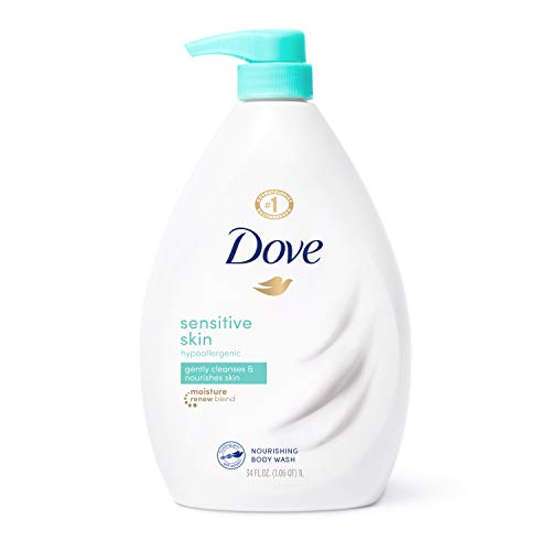 Dove Body Wash for Softer and Smoother Skin Sensitive Skin Effectively Washes Away Bacteria While Nourishing Your Skin, 34 oz
