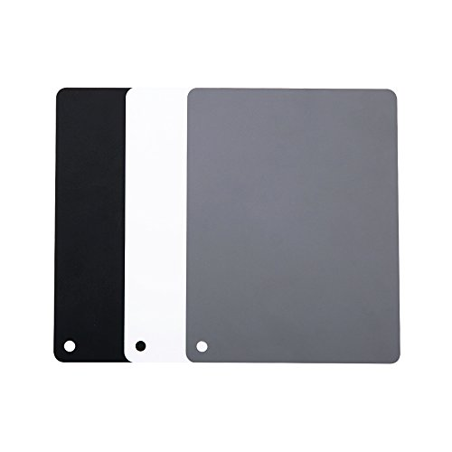 "JJC 4"" x 5.2"" PVC White Balance Card Set for Achieving Perfect Color Balance in Your Photos - Including an 18% Neutral Grey Card, a White Card and a Black Card"