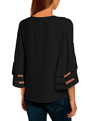 luvamia Women Casual Crewneck Top 3/4 Bell Sleeve Mesh Panel Shirts Loose Blouse