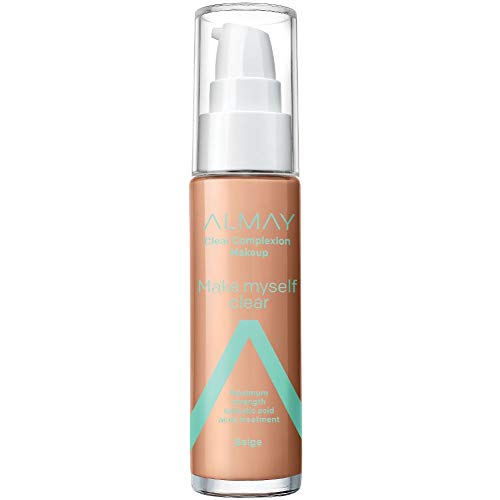 Almay Clear Complexion Makeup, Matte Finish Liquid Foundation with Salicylic Acid, Hypoallergenic, Cruelty Free, Fragrance Free, Dermatologist Tested, 500 Beige, 1.0 oz