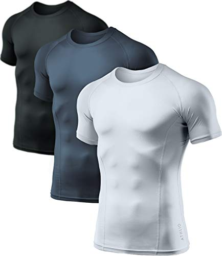 ATHLIO 1 or 3 Pack Men's Cool Dry Short Sleeve Compression Shirts, Sports Baselayer T-Shirts Tops, Athletic Workout Shirt