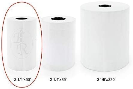 BPA Free for POS terminals: Verifone Vx520 American Made 50 CC Receipt Paper 2-1//4 x 50 ft - Thermal Paper Rolls per Pack Dejavoo Z8 Clover Flex Mobile Ingenico Ict220 Ict250
