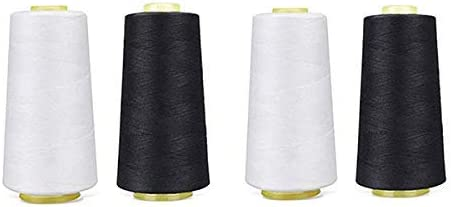 White Sewing Thread All Purpose 100/% Spun Polyester Overlock Cone Upholstery, Canvas, Drapery, Beading, Quilting,Serger,Over Lock, Merrow, Single Needle 1 Pack of 6000 Yard Each Spool