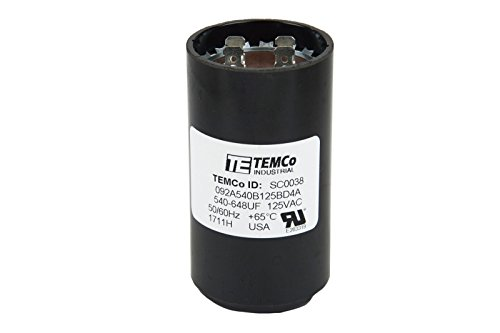 TEMCo 540-648 uf/MFD 110-125 VAC Volts Round Start Capacitor 50/60 Hz AC Electric - Lot -1