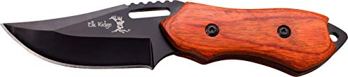 Elk Ridge - Outdoors Fixed Blade Knife - 6-in Overall, 3-in Black Stainless Steel Blade, Brown Wood Handle, 1680D Nylon Sheath - Hunting, Camping, Survival - ER-562WD