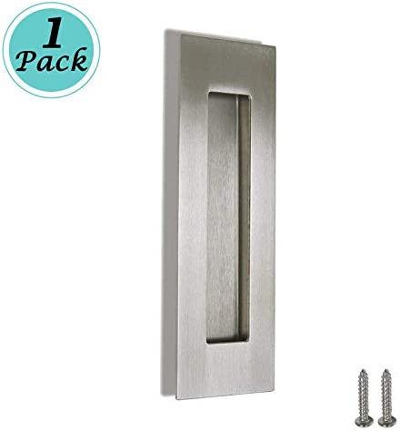 1 pc Brushed Nickel Rectangular Recessed Barn Door Pull Embedded Finger Pull Pocket Sliding Door Handle with Hidden Screws