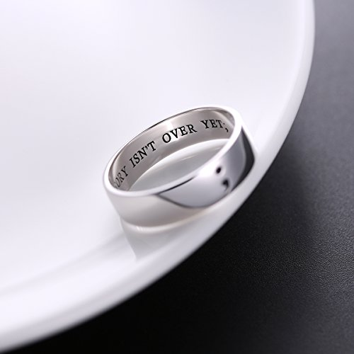 Inspirational Jewelry S925 Sterling Silver MY STORY ISN'T OVER YET; Semicolon Ring for Men Women or Unisex Width 6mm
