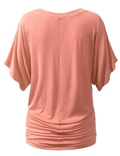 URBANCLEO Womens Short Sleeve Dolman Drape Top Shirts (Plus