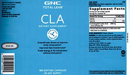 GNC Total Lean CLA, Twin Pack, 180 Softgels per Bottle, Improves Lean Muscle Tone 3