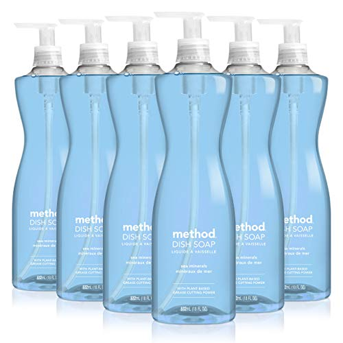 Method Sea Minerals Dish Soap, Pump Bottles, 18 Fl Oz, Pack of 6