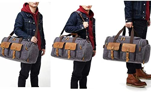 Kemy's NEW UPGRADED Mens Canvas Duffle Bag Oversized Weekender Overnight Bags Vintage Carry On Luggage with Genuine Leather for Traveling(Coffee)