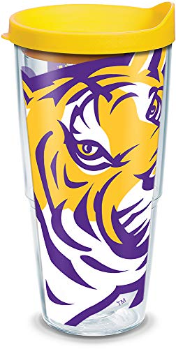 Tervis 1084763 LSU Tigers Colossal Tumbler with Wrap and Yellow Lid 24oz, Clear