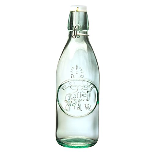 Amici Home Italian Recycled Green Water Tap Glass Bottle, 34oz, Set of 2