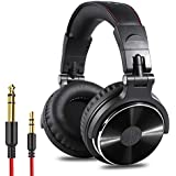 OneOdio Adapter-Free Closed Back Over-Ear DJ Stereo Monitor Headphones  Professional Studio Monitor & Mixing  Telescopic Arms with Scale  Newest 50mm Neodymium Drivers- Glossy Finish (Black)