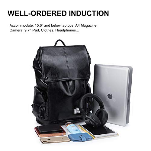 WindTook Laptop Backpack for Women and Men Travel Computer Bag School College Daypack with USB Charging Port Suits 15 Inch Notebook (PU-Black)