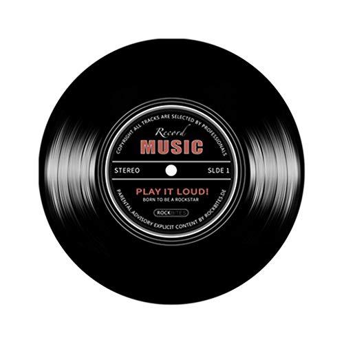 HIKO23 Area Rug Music Record Printed Round Floor Mat Retro Black CD Non-Slip Carpet Creative Design Round Area Rugs