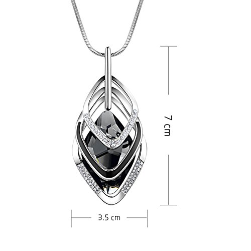 Gexo Long Sweater Necklace for Women Created Crystal Triple Stack Pendant Flower Shape Tassel Necklace Fashion Jewelry ¡ …