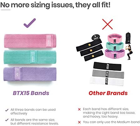 Fabric Non Slip Hip Resistance Bands and BootyHIIT Butt Workout Set by BTX Fifteen, Set of 3 Bands, 6 Week Program and Superfood Guide Included 8
