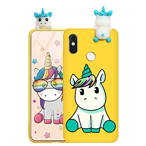 "Eouine for Xiaomi Mi 9 Case, Phone Case Silicone 3D Doll Animal Toy with Cute Cartoon Pattern Slim Shockproof Soft Gel Cute Cover Skin for Xiaomi Mi 9 6.39"" Smartphone (Unicorn 3)"