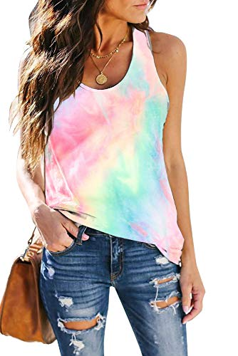 ETCYY Women's Tie-Dyed Sleeveless Workout Tank Tops Loose Fit Quarantined Social Yoga Athletic T Shirts