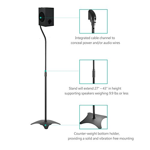 Speaker Stand Adjustable Height Mount Hold Satellite Book Shelf Speaker up to 9.9 lbs Extend from 27 to 43 inch (SS201), 1 Pair, Black by WALI