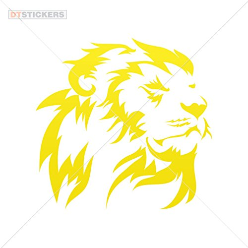 Lions Colors & Sizes Variations Vinyl Sticker Decals Lion Head Sports Bike (5 X 4,88 in.) Yellow