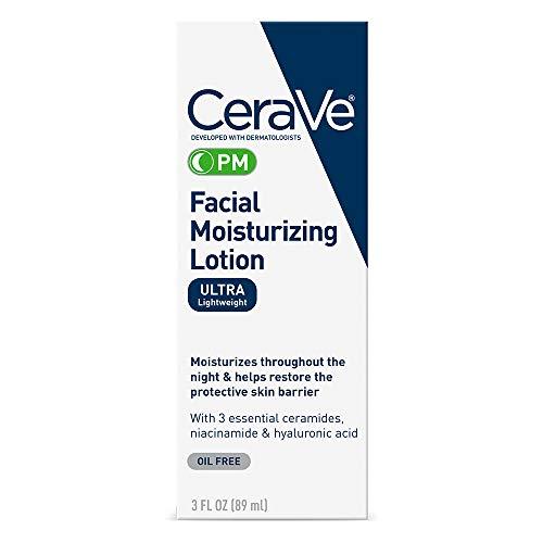 CeraVe Facial Moisturizing Lotion PM   3 Ounce   Ultra Lightweight, Night Face Moisturizer   Fragrance Free