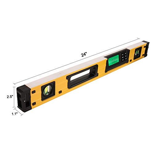 24-Inch Digital Torpedo Level and Protractor   Neodymium Magnets   Bright LCD Display   IP54 Dust/Water Resistant smart level with Carrying Bag