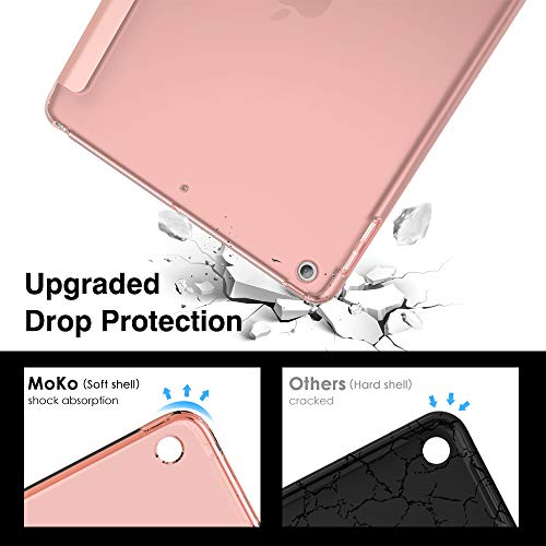 """MoKo Case Fit 2018/2017 iPad 9.7 6th/5th Generation, Slim Smart Shell Stand Folio Case with Soft TPU Translucent Frosted Back Cover Compatible with iPad 9.7"""" 2018/2017, Auto Wake/Sleep - Rose Gold"""
