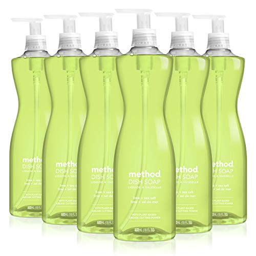Method Lime + Sea Salt Dish Soap, Pump Bottles, 18 Fl Oz, Pack of 6