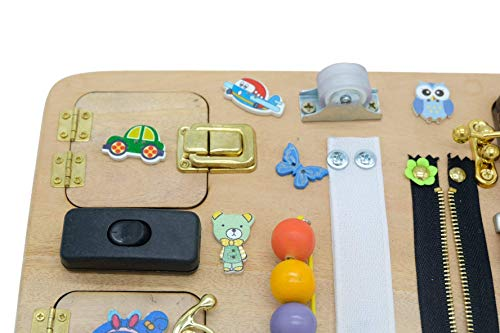 Busy Board 30 x 20 cm (12 x 8 inches) ,Travel Busy Broad, Toy for Toddler, Sensory Children Game, Activity Toy, Montessori Toy, Wooden Toy, Toddler quiet game - Made In Vietnam