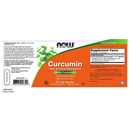 NOW Supplements, Curcumin, derived from Turmeric Root Extract, 120 Veg Capsules