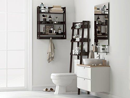 UTEX 3 Tier Bathroom Shelf Wall Mounted with Towel Hooks, Bathroom Organizer Shelf Over The Toilet (Espresso)