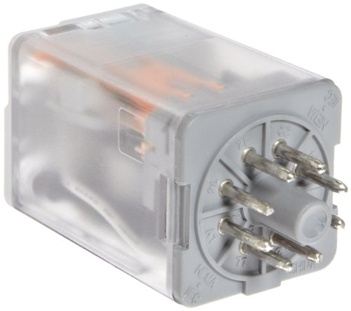 Premium Plug In Relay, Standard Octal Base, Mechanical Flag, Push To Test, Lock Down Door, LED, DPDT Contacts, 16A Contact Rating, 24VDC Coil Voltage