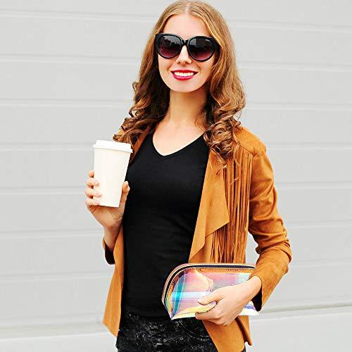 JINGMAX 2pcs Makeup Bags, lridescent Travel Cosmetic, Waterproof Portael Handbag with Gold Zipper for Women Girls