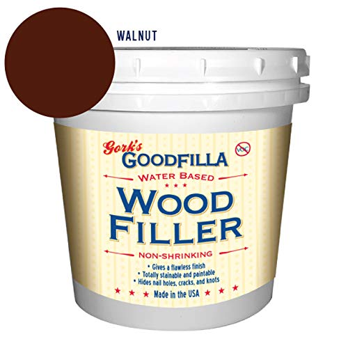 Water-Based Wood & Grain Filler - Walnut - 1 Quart by Goodfilla | Replace Every Filler & Putty | Repairs, Finishes & Patches | Paintable, Stainable, Sandable & Quick Drying