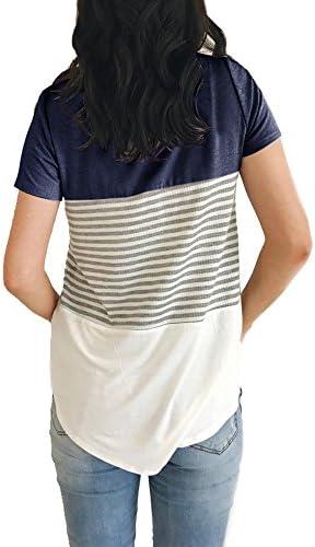 YunJey Round Neck Triple Color Block Stripe T-Shirt 3