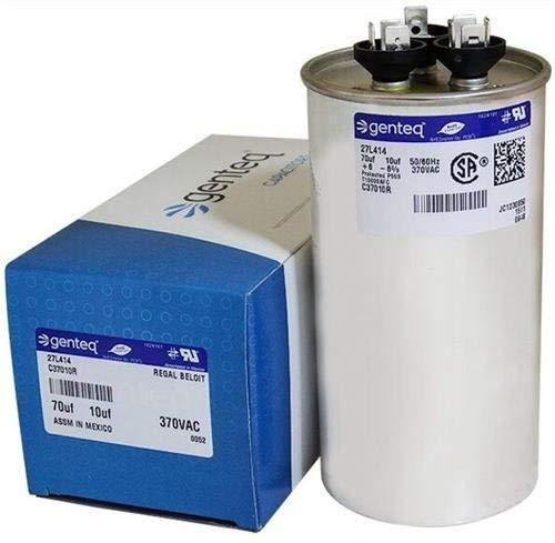 100335-22 - 70 + 10 uf MFD 370 Volt VAC - Lennox Round Dual Run Capacitor Upgrade