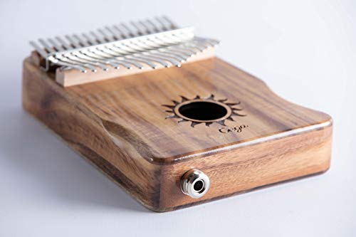 17 Key Electric-Acoustic Kalimba, KOA Wood Finger Thumb Piano with Built-in Pickup (EQ) and Added Thumb Grooves for Extra Comfort