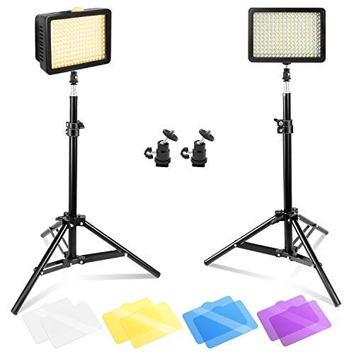 "Julius Studio [2 Pack] 216 LED Camera Light Kits, Ultra High Power 216 LED Video Light Panel DSLR Camcorder LED Video Light, 29.8"" Tall Photography Mini Light Stands, Mini Ball Head Adapters, JGG2287"