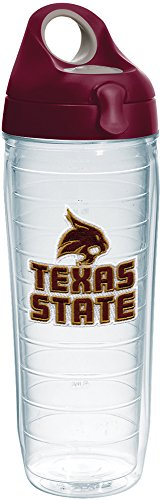 Tervis Texas State Bobcats Logo Insulated Tumbler with Emblem and Maroon Lid, 24oz Water Bottle, Clear