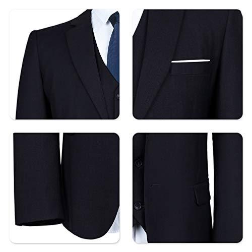 YIMANIE Men's Suit Slim Fit One/Two Button 3 Piece Suits Jacket Vest & Trousers