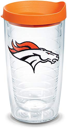 Tervis 1039089 NFL Denver Broncos Primary Logo Tumbler with Emblem and Orange Lid 16oz, Clear