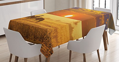 """Ambesonne African Tablecloth, Group of Zebra on The West Safari Territory at Sunset Horizon Tropic Photo, Dining Room Kitchen Rectangular Table Cover, 60"""" X 84"""", Orange"""