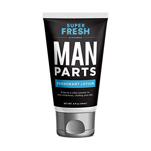 Super Fresh Man Parts Ball Deodorant by SweatBlock. Talc-Free Hygiene lotion-to-powder cream for fresh balls & body. Stops stickiness and odor, 4 fl oz tube