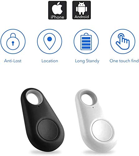 Smart Key Finder Locator Tracking Device for Kids Boys Girls Pets Cat Dog Keychain Wallet Luggage Anti-Lost Tag Alarm Reminder Selfie Shutter APP Control Compatible iOS Android