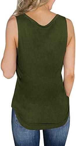 Dellytop Womens V Neck Tank Tops Sleeveless Henley Shirts Button Up Ribbed Long Tunic Tees 6