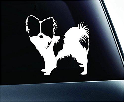 ExpressDecor Papillon Symbol Decal Paw Print Dog Puppy Pet Family Breed Love Car Truck Sticker Window (White)
