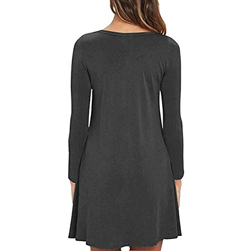 Cnokzol Women Long Sleeve Pleated T-Shirt Dress with Pockets Casual Loose Tunic Dress(L,Grey)
