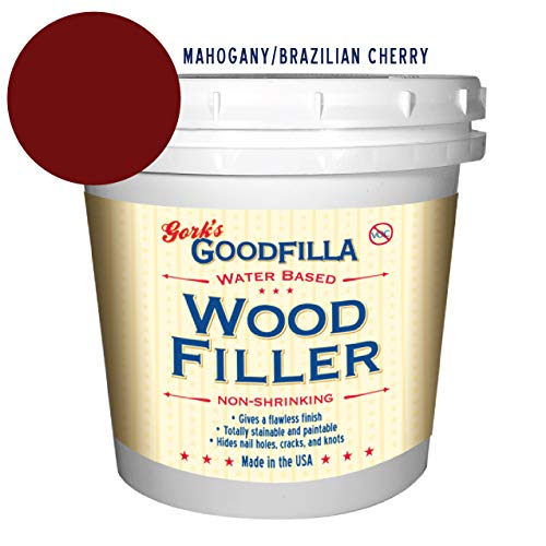 Water-Based Wood & Grain Filler - Mahogany/Brazilian Cherry - 1 Quart by Goodfilla | Replace Every Filler & Putty | Repairs, Finishes & Patches | Paintable, Stainable, Sandable & Quick Drying
